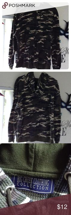 Camo Thermal Hoodie Camouflage Print Thermal Long Sleeved ZipUp Hoodie. Great Condition. Olive Green/Black/Cream/Brown. Women's 60%cott/poly Big Creek Clothing Collection Tops Sweatshirts & Hoodies