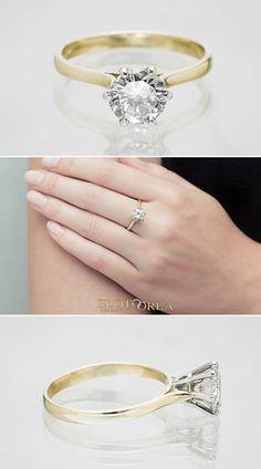 Pierścionek zaręczynowy z diamentem.