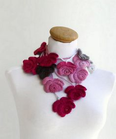 Crochet scarf Women Flowers Spring Fashion Floral by vyldanstyle