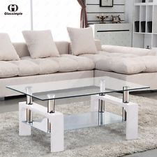 d2a75ec6ac Rectangular Glass Coffee Table Shelf Chrome White Wood Living Room  Furniture Rectangle Glass Coffee Table