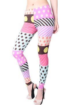 Women's #Fashion Clothing: Pants, Tights, and #Leggings: LeggingsQueen Cute Fashion Colorful Pink and White Multi Pattern Polka Dot Legging - Pink: Clothes