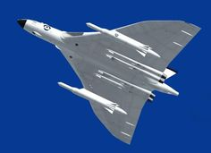 Avro Vulcan painted in the anti flash white carrying mock ups of the American Skybolt air lunched ballistic missile. The Skybolt was intended to form the British nuclear deterrent, but due technical problems the project was cancelled.