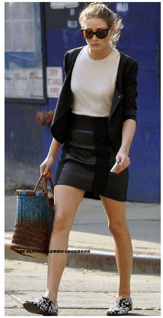 All things Olivia Palermo black mini skirt, beige or white blouse,black cardi or short jacket, leopard print shoes,