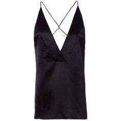 Dion Lee Women's Navy Silk Satin Cami ($550) ❤ liked on Polyvore featuring tops, navy, spaghetti strap cami, camisole tops, deep v neck top, navy blue top and deep v neck tank top