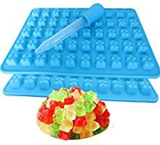 2 Pack 50 Cavity Silicone Gummy Bear Candy Chocolate Mold With a Bonus Dropper Making Cute Gift For Your Kids * You can get additional details at the image link. Gummy Molds, Jelly Moulds, Candy Molds Silicone, Gummy Bear Candy, Ice Candy, Homemade Gummy Bears, Paleo Fruit, Making Crayons, Juice Flavors