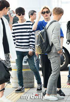 140727- EXO Byun Baekhyun (ft. Suho, Chen, Chanyeol) @ Incheon Airport to Changsha Airport #exok #exom #men #fashion #style
