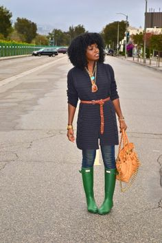 Style Pantry | Cable Knit Cardigan + Skinnies + Bright Green Rain Boots