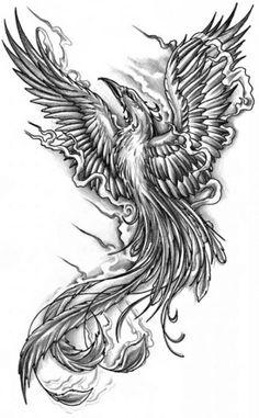 ... grey ink phoenix tattoo design cool grey ink phoenix tattoo design