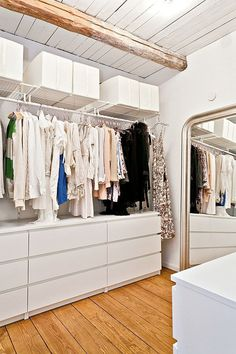 ikea malm and hanging shelves for a simple and stylish walk in closet Swedish Cottage, Ikea Malm Dresser, Closet Designs, Home, Walk In Closet Design, One Bedroom Apartment, Apartment Bedroom Decor, My Scandinavian Home, Closet Organization