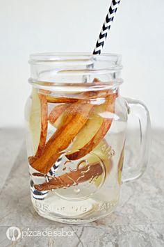 Agua detox con manzana y canela www.pizcadesabor.com