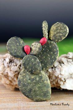 Marlene Brady.  Polymer clay Cactus pin