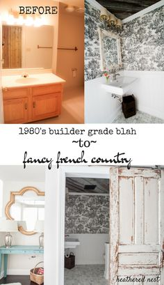 A gorgeous french country bathroom makeover with toile, DIY wooden ceiling & barn-style door. Lots of DIY bathroom ideas for your home. Home, Barn Style Doors, Diy Bathroom Decor, French Country Bathroom, Country Bedroom, Home Diy, Throne Room, Bathrooms Remodel, Beautiful Bathrooms