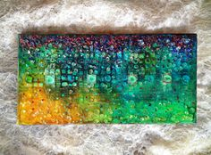 "Mixed Media Abstract Canvas, Modern Painting ""Sweet Falling"". Modern heavy textured painting, Original Art, glass wall art, small canvas."