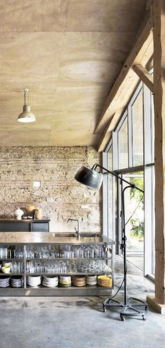 stone, ply, stainless steel and open shelves. A great combination of materials. Pinned to Architecture - Interior Design by Darin Bradbury.