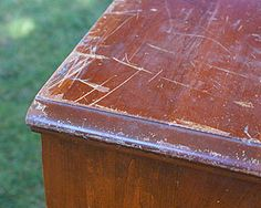 Olive or Vegetable Oil – About ¾ cup White or Apple Cider Vinegar – About ¼ cup Just mix together and dip a rag into the mixture. Then, just wipe your furniture down with it. This will completely eliminate those nips and make the furniture look nearly new again.