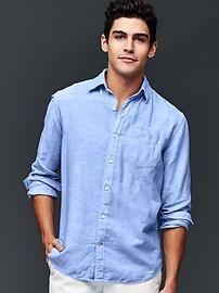 Linen-cotton yarn dye standard fit shirt
