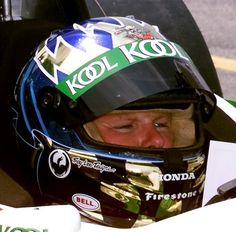 Fellow Canadian CART driver Paul #Tracy with a tribute to Greg #Moore on his helmet at the Molson Indy Toronto Race in 2000.