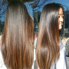 Dark ombre for straight hair balayage straight hair, brown straight hair, asian hair highlights Balayage Ombré, Balayage Highlights, Bayalage, Asian Balayage, Subtle Balayage, Caramel Highlights, Balayage Straight Hair, Brown Straight Hair, Asian Hair Highlights Straight