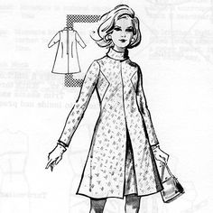 1960s Modes Royale stand-up collar a-line dress. they have the coolest design details in this pattern line.