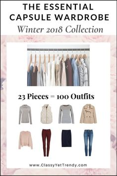 The Essential Capsule Wardrobe: Winter 2018 Collection Maximize your closet, get dressed quickly and get 100 outfits from only 23 clothes and shoes! IS YOUR CLOSET FULL OF CLOTHES, BUT YOU HAVE NOTHING TO WEAR? YOU NEED… THE ESSENTIAL CAPSULE WARDROBE E-BOOK: WINTER 2018 COLLECTION! A Complete Capsule Wardrobe Guide, With all the clothes and…