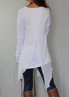 395e1ac1e97 Long Sleeve Tunic with Asymmetric Hem Over-lining