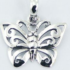 Silver pendant hand crafted 925 sterling silver butterfly 19mm height new PSA