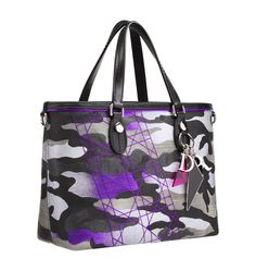 Christian Dior Anselm Reyle Purple mini shopping bag in 'Camouflage' print canvas