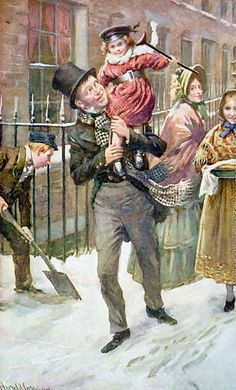 Harold Copping (1863  1932, English)  Bob Cratchett and Tiny Tim. When I see this I thnk of Christmas.