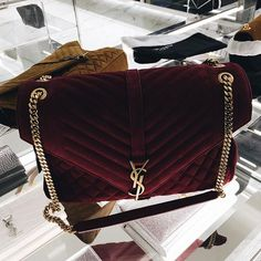Yves Saint Laurent Burgundy Velvet Gold Chained Purse, Fashion Accessories , Style Inspiration