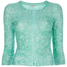 P.A.R.O.S.H sequined cardigan (5.645 ARS) ❤ liked on Polyvore featuring tops, cardigans, sweaters, outerwear, jackets, three quarter sleeve cardigan, crew neck cardigan, three quarter sleeve tops, green sequin top and 3/4 length sleeve tops