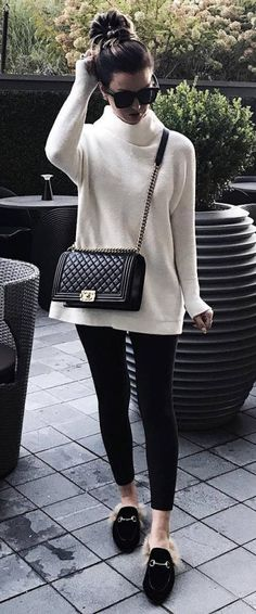 Incredible Fall Outfit Idea Sweater Plus Bag Plus Skinnies Plus Loafers