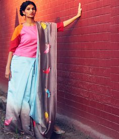 What a cute saree! The adorable birds embroidered on this chanderi cotton sari are absolutely delicious! #indianethnic #saree #sari #designersaree #indiandesign
