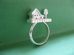 House and Tree Ring Sterling Silver Statement por JillKDavisJewelry, $240.00