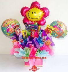 arreglo de globos pequeño, Detalle pequeño de flor, Regalo de cumple, Arreglo de Globos y dulces para aniversario, arreglo de globos monterrey