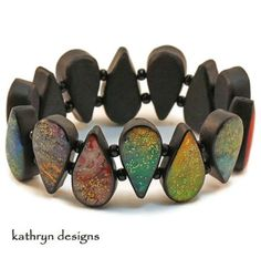 Colorful luminous handmade bracelet polymer clay resin teardrops | KathrynDesigns - Jewelry on Art.  69.00