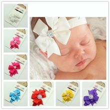 1 Pcs 13 cores bebê grandes laços acessórios de cabelo infantil do bebê headband Elastic faixas de cabelo cabelo arcos menina headbands(China (Mainland))