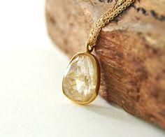 Kau'i necklace gold rutilated quartz pendant by kealohajewelry