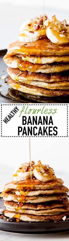 Goooood morning sunshine! These Flourless Banana Pancakes are so fluffy and delicious! Oats, Banana, Almond Milk, Eggs and Vanilla. Pure bliss!