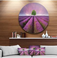 "Designart 'Lavender Field Sunset With Single Tree' Floral Metal Circle Wall Art - 38"" x 38"" #wallart #purplewall #walldecor #purpledecor #funkthishouse #afflnk"