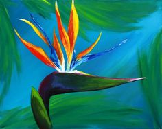 This #BirdOfParadise #painting is a 3 Hour class at #PurpleEasel. We will guide you step by step to recreate this piece of #art, all materials provided. As always, you're welcome to bring beer or wine. Cheers!