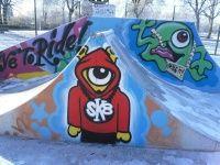 Mais um belo grafite em um skate park o que me chamou mais a atenção nesta arte é me lembra muito o principal simbolo da Toy Machine, mais como não tnha nenhuma informação no site se era mesmo fiquei na duvida..