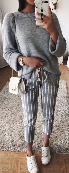 #spring #outfits grey sweater, striped grey pants, sneakers