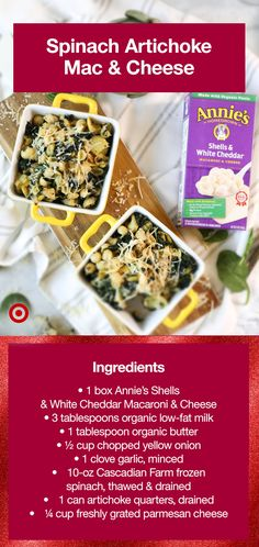 • Prepare mac & cheese according to package directions & set aside • Preheat oven to 350° F & lightly grease 4 small ramekins • In a large skillet, melt butter, add onion & garlic and cook for 2 minutes on medium heat • Add artichokes & cook for 2 minutes • Stir in mac & cheese, then gently stir in spinach • Transfer mac & cheese to prepared ramekins • Sprinkle top with parmesan & bake until hot and bubbly, roughly 15-18 minutes • Shop the ingredients at Target Easy Healthy Recipes, Gourmet Recipes, Appetizer Recipes, Vegetarian Recipes, Snack Recipes, Appetizers, Cooking Recipes, Cheddar Mac And Cheese, Mac Cheese