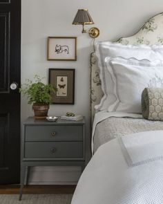 Warm & cozy room Henry & Co. ~ Henry & Co Design is a boutique interior design firm started by Elle Clymer and Stephanie Woodmansee based in New York City. Home Bedroom, Master Bedroom, Serene Bedroom, Modern Bedroom, Boutique Interior Design, Suites, Guest Bedrooms, Blue Bedrooms, Guest Room