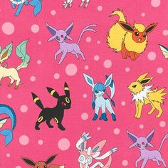 Pokemon Character on Pink Fabric, Pokemon Fabric, Pikachu on Pink Kaufman fabric 16210-10 / Yardage. Pokemon by the Yard / Pokemon Go Quilt by SewWhatQuiltShop on Etsy