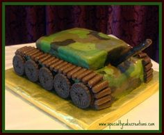 Specialty Army Tank Cake with directions Army Tank Cake, Army Cake, Military Cake, Cupcakes, Cupcake Cakes, Wilton Cakes, Army Birthday Parties, Birthday Cakes, 10th Birthday