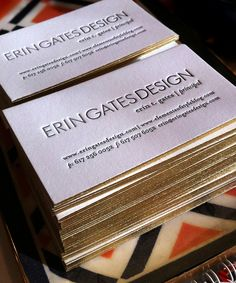 Gold Edge Painted Letterpress Biz Cards (design by Jessica Sutton & printing by Parrott Design Studio) - love the gold!