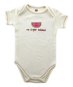 Another great find on #zulily! Off-White 'No Sugar Added' Watermelon Organic Bodysuit - Infant #zulilyfinds