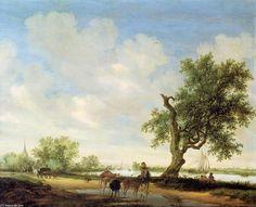 Paysage de rivière (3), huile sur panneau de Salomon Van Ruysdael (1602-1670, Netherlands)