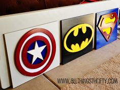 For the Superhero room, see this is what I'm talking about, Capt. America is Marvel, Batman and Superman are DC... I would replace the Capt. America with The Flash who is DC.... Ok I'm off my soap box... Just the nerd talking... I do love this idea though!
